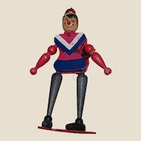 Vintage Jumping Jack Skier Pull String Puppet