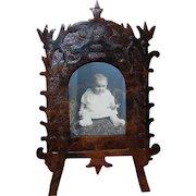 Folk Art Wooden Carved Easel Frame
