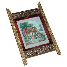 Late 19th C. Wood and Gesso Wall Picture Frame with Velvet