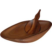 Mid Century Modern Monkey Pod Serving Dish and Olivewood Paddle Spoon