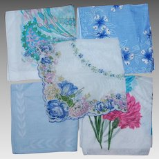 Lot of 5 Shades of Blue Handkerchiefs Vintage Cotton