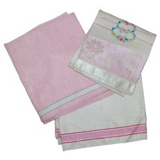 3 Pretty in Pink Vintage Linen Towels