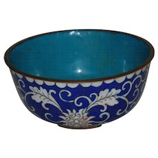 Vintage Blue and White Cloisonne Bowl China