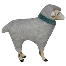 Antique Putz painted metal and wool Sheep