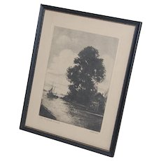 The Norfolk Broad Etching Framed Print by William Stevens