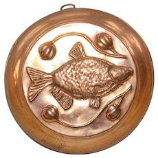 Swedish Copper Jelly Mold with Fish