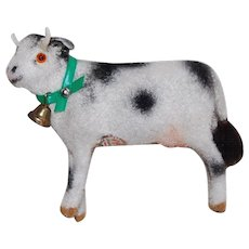 Vintage Kunstlerschutz Flocked Miniature Cow with bell