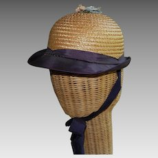 Child's 1920's Straw Cloche Hat with bow ties