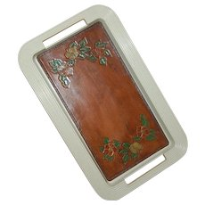 Vintage Tray with Tooled Leather Insert