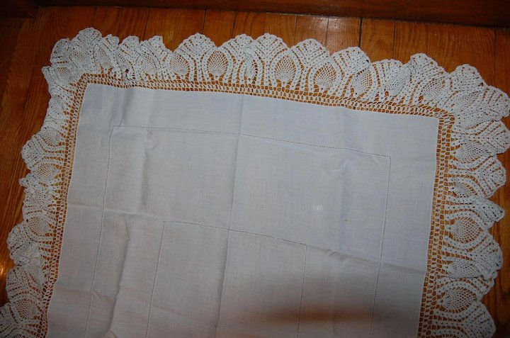 Rectangular Tablecloth With Wide Crocheted Ruffle Edge Starr Hill
