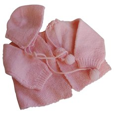 Vintage Baby or Doll Pink Knit Sweater and Hat