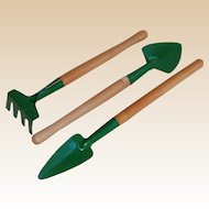 Doll Size Garden Rake, Spade and Shovel