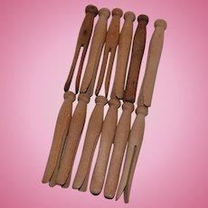 One Dozen Doll Size Wooden Clothespins