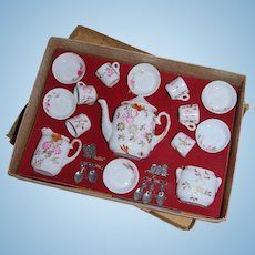 Early Doll Size Tea Set with Original Box and Spoons