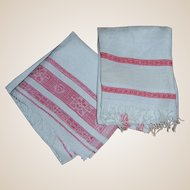 2 Old Red and White Damask Linen Towels