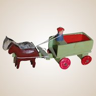 East German Putz Horse and Wagon Erzegebirge Penny Toy