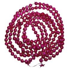 "Christmas Mercury Glass Ornament Garland Big Pink Beads 100"""