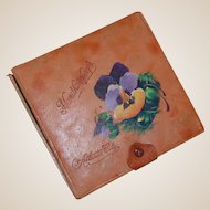 Vintage Souvenir of Atlantic City Painted Leather Handkerchief Box