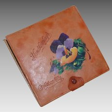 Vintage Souvenir of Atlantic City Painted Leather Handkerchief Box
