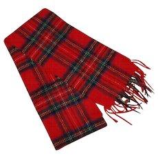 Vintage Red Plaid Shetland Wool Long Scarf
