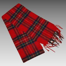 Vintage Red Plaid Shetland Wool Long Scarf