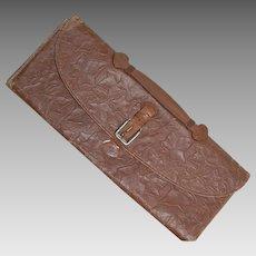 Vintage Embossed Leatherette Necktie Travel Case