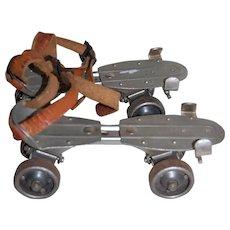 """Vintage """"CHICAGO"""" Strap on Metal Roller Skates"""