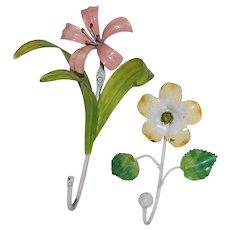 2 Italian Tole Painted Metal Flower Wall Hooks