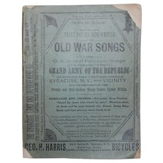 Old War Songs Souvenir Song Booklet 1890's Syracuse NY Advertising