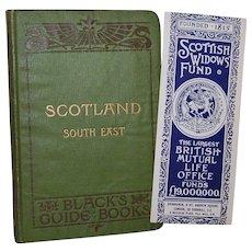 1907 Black's Guide Books: Scotland South East Travel Book plus Scottish Widow's Fund Bookmark