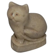 Cat Netsuke Made from Green Stone