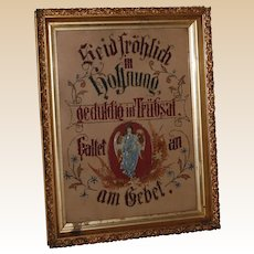 Gold Framed German Paper Punch Hope + Truth in prayer Celluloid Angel
