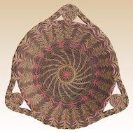 Intricate Pine Needle Handled Basket with Pink Stitchery
