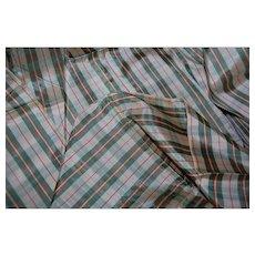 Green Plaid Taffeta Vintage Fabric