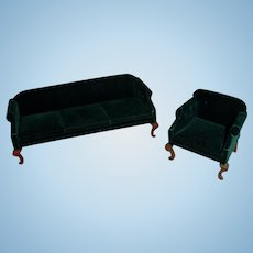 Dollhouse Green Upholstered Chippendale Style Sofa and Chair