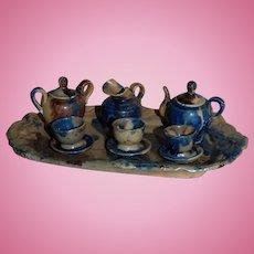 Mexican Miniature 10 piece Pottery Doll Tea Set