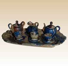 Mexican Miniature 10 piece Pottery Doll Tea Set