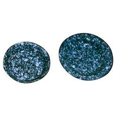 Two Vintage Miniature Enamel Graniteware Doll Pans