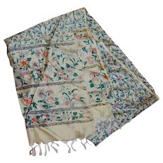 Vintage Long Silk Fringed Scarf Shawl Floral Print