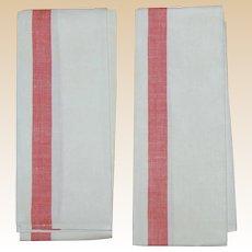 2 Vintage Linen Cotton Kitchen or Bar Towels w Red Stripe