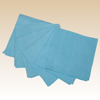 6 Vintage Linen Table Napkins in Aqua Blue