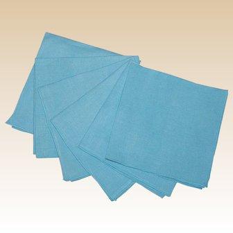 6 Vintage Linen Table Napkins in Aqua Blue
