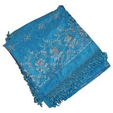 Beautiful Blue Satin and Chenille Embroidered Bedspread