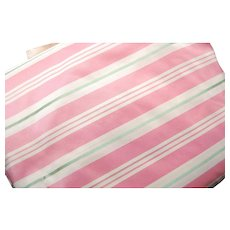 10 Yards Vintage Heavy Taffeta Pink and Green Stripe