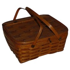 Woven Ash Picnic Double Pie Basket with insert