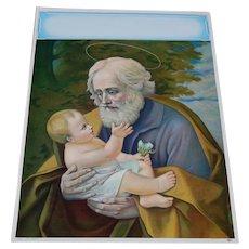 Saint Joseph Calendar Lithograph 1950's Patron Saint of Fatherhood
