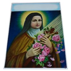Saint Therese of Lisieux Little Flower Calendar Lithograph 1950's