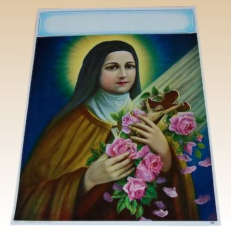 Saint Therese of Lisieux Little Flower Calendar Lithograph 1950's