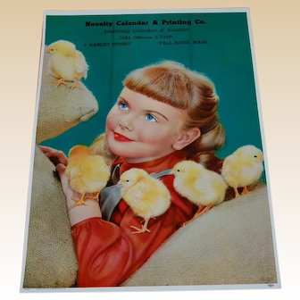 Farmerette Girl with Chicks Calendar Lithograph 1950's