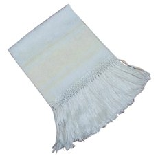 Vintage Damask Linen Towel with Fringe Fern and Floral